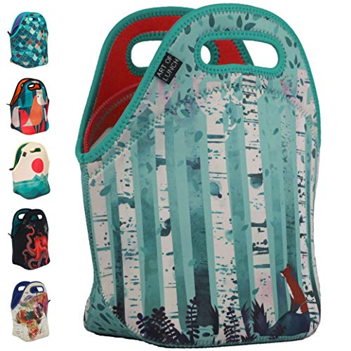 ART OF LUNCH Insulated Neoprene Lunch Bag for Women, Men and Kids - Reusable Lunch Tote for Work and School - Partnering with Artists Around the World - Design by Michelle Li Bothe (Germany) - Birches