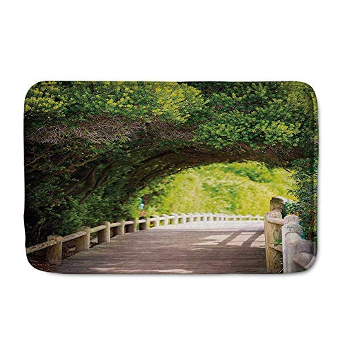 C COABALLA Forest Comfortable Door Mat,Nature Boardwalk Through Green Archway Bridge Foliage Trees Sunny Summer Day for Home Office,23