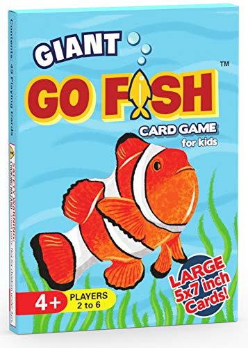 Giant Go Fish Card Game for Kids - Large 5x7 Inch Cards - Play Go Fish and Old Maid Using 1 Jumbo-Sized Deck of Cards