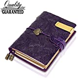 """Traveler Notebook Leather Small Journal Notebook ,Flowers Embossed Vintage Notebook, Gift for Men & Women, Perfect to write in ,5.3"""" X 4 """"Inch Cute Travelers Journal--Purple"""