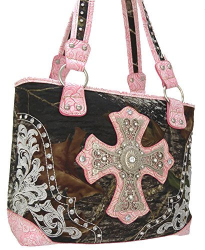 """mossy Oak"" Cross Decorative With Studded Mossy Oak Print Tote-pink(am2-2)"