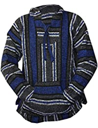 Mexican Baja Hoodie Hippie Surf Poncho Sweater Sweatshirt Pullover Jerga