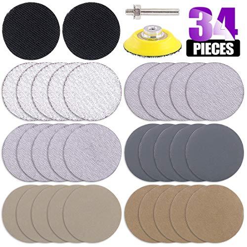 Swpeet 33Pcs 2 Inch 60 320 800 2500 4000 7000 Grit White Dry and Waterproof Hook Loop Sanding Discs with 2