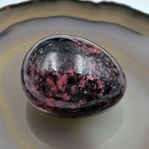 Natural Gemstone Sphere Crystal EGG Healing Stone With Wooden Stand (Rose Jasper)
