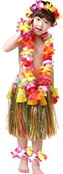 Haobing Disfraz Fiesta Hawaiana Falda Luau Hula Diadema ...