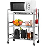 langria 3tier wire mesh rolling cart for serving utility trolly kitchen island cart easy moving flexible wheels 66 lbs weight capacity