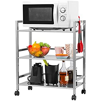 Amazon.com: EPG-Life 3 Tier Stainless Steel Microwave Cart Stand ...