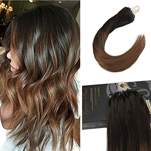 Ugeat 20inch 50Gram Dark Brown Color 2 Fading to 6 Medium Brown Micro Ring Loop Hair Extensions Human Hair Extensions 50 Strands Per Package 1g/Strand Micro Beads Link Hair Extensions Review