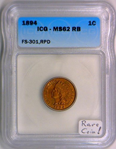 1894 No Mintmark Indian Head FS-301, RPD; ICG Graded Cent MS-62 RB