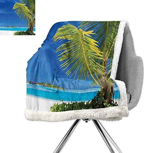 (ScottDecor Ocean Seascape Digital Printing Blanket,Caribbean Polynesia and Tropics Small Palm Trees Photo Print,Turquoise and Ecru,Print Summer Quilt Comforter W59xL47 Inch)