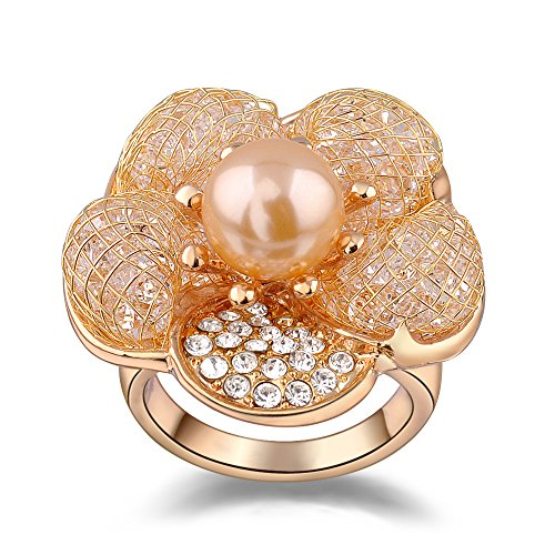 (Mytys 18k Rose Gold Plated Mesh Flower with Cubic Zirconia and Pearl Fashion Rings(7))