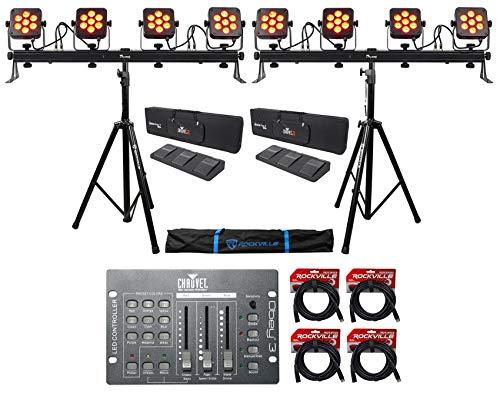 (2) Chauvet DJ 4Bar Flex T USB Light Bars+Stands+Cases+Foot Switches+Controller
