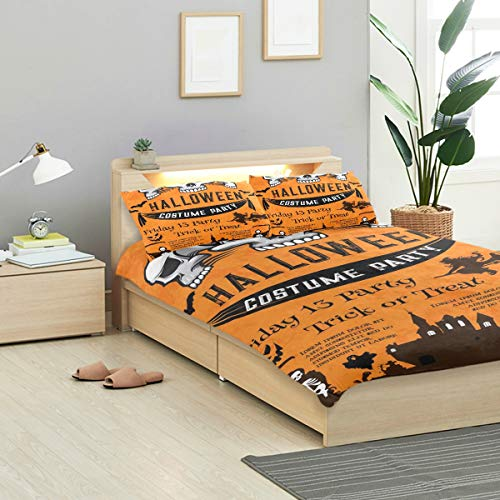 KVMV Halloween Holiday Festive Poster Costume Horror Duvet Cover Set Design Bedding Decoration King 3 PC Sets 1 Duvets Covers with 2 Pillowcase Microfiber Bedding Set Bedroom Decor Accessories