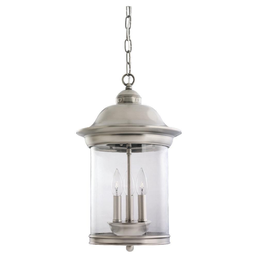 One Light Antique Brushed Nickel Outdoor Pendant