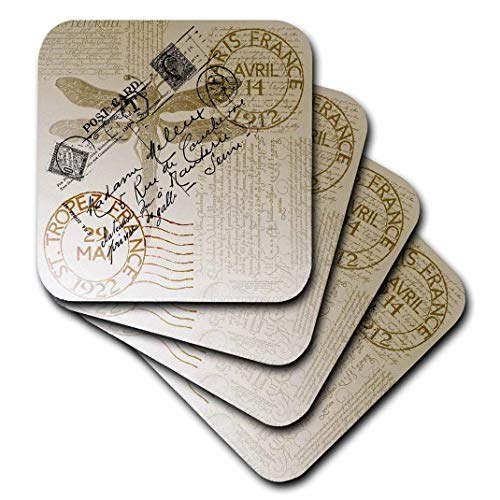 3dRose Vintage Dragonfly French Postcard Soft Coasters (Set of 8) ()