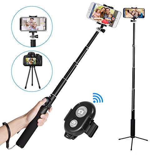 Bluetooth Selfie Stick,EletecPro Extendable Wireless Monopod with Tripod Stand Foldable Remote Control Sticker for iPhone, Samsung, other Android phones, GoPro and digital cameras (Black) by EletecPr