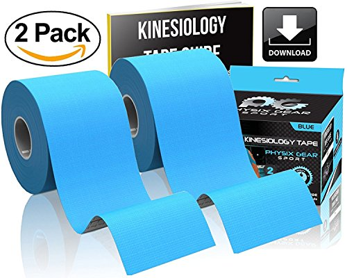 Physix Gear Sport Kinesiology Tape - Free Illustrated E-Guide - 16ft Uncut Roll - Best Pain Relief Adhesive for Muscles, Shin Splints Knee & Shoulder - 24/7 Waterproof Therapeutic Aid (2PK BLU) by Physix Gear Sport (Image #1)