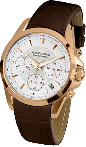Jacques Lemans Liverpool 1-1752I 35mm Ion Plated Stainless Steel Case Brown Calfskin Mineral Women's Watch