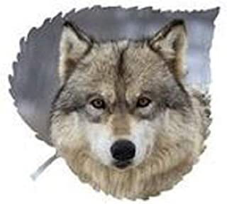 product image for Amber Eyes Wolf Large Aspen Leaf Wall Art