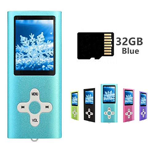 MP3 / MP4 Player Including a 32GB Micro SD Card, Runying Portable Music Player Support up to 64GB, Mini USB Port 1.8 LCD, with Photo Viewer, E-Book Reader, Voice Recorder & FM Radio Video (32GB Blue)