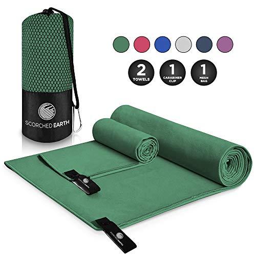 ScorchedEarth Microfiber Travel & Sports Towel Set (Evergreen)