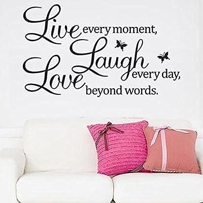 Soledi®Pegatinas Adhesivos vinilos decorativos pared frases Live Laugh Love  para salon comedor habitación