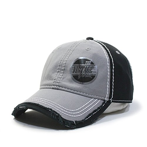 Vintage Year Washed Cotton Distressed with Heavy Stitching Adjustable Baseball Cap (Gray/Gray/Black)