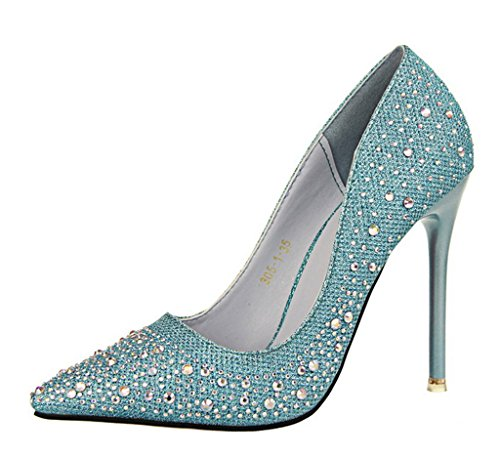 Pumps Boda Rhinestone Tacón Alto Stiletto Dulce Primavera Zapatos Elegante Mujer Zapatos de Tacón Zapatos Azul Minetom Brillante qFAtnw6zA