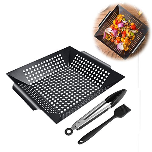 BBQ Masters Non-stick Grilling Basket, Grill topper Barbecue Wok Pan with Cooking Tongs and Basting Brush for Veggies, Seafood, Meats by Yopin