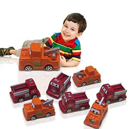 TRUCKS - Mini Fire Rescue Cars - Pack of 12 Adorable Emergency Firetruck kids Toy - By Toy Cubby!