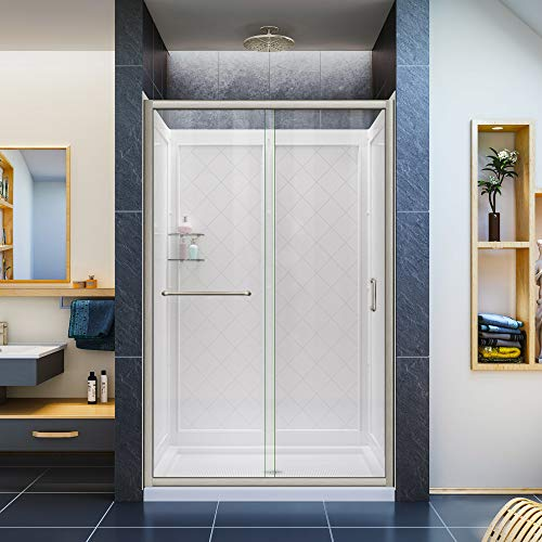 DreamLine Infinity-Z 36 in. D x 48 in. W x 76 3/4 in. H Clear Sliding Shower Door in Brushed Nickel, Center Drain and Backwalls, - Sliding Door Infinity Dreamline