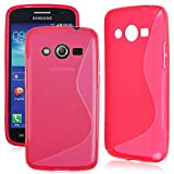 "4.5"" Galaxy Core LTE SM-G386W G386T G386F Samsung TPU Cover , Skypillar® Flexible Soft Silicone Rubber Case - Hot Pink"