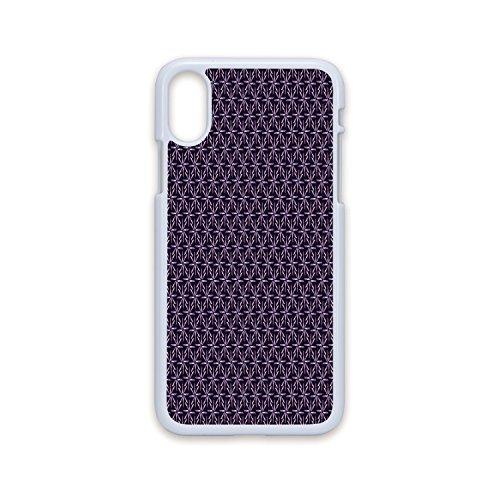 Phone Case Compatible with iPhone X White Edge 2D Print,Geometric,Pinwheel Design with Dark Color Palette Abstract Pattern Winter Motifs,Mauve Lavander Purple,Hard Plastic Phone Case