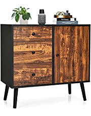 Giantex Storage Cabinet Buffet Sideboard with 3 Drawers, 1 Side Cabinet, Adjustable Shelf and Wooden Legs, Floor Cabinet for Dining Room, Living Room, Entryway, Bedroom Freestanding Console Table