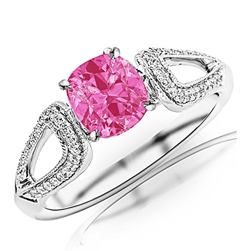 Tw Pink Cushion Cut Ring - 0.95 Carat t.w Platinum Vintage Style Split Shank Milgrain Diamond Engagement Ring w/a 0.75 Carat Cushion Cut Pink Sapphire Heirloom Quality