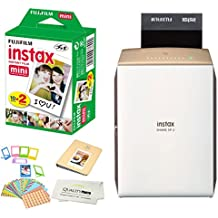 Fujifilm Instax SHARE SP-2 Portable Smart Phone Photo Printer w/ Instax Photo Paper Film Pack + Accessory Kit Bundle - Instantly Print Pictures from iPhone or any smartphone & Tablet in 10 Seconds
