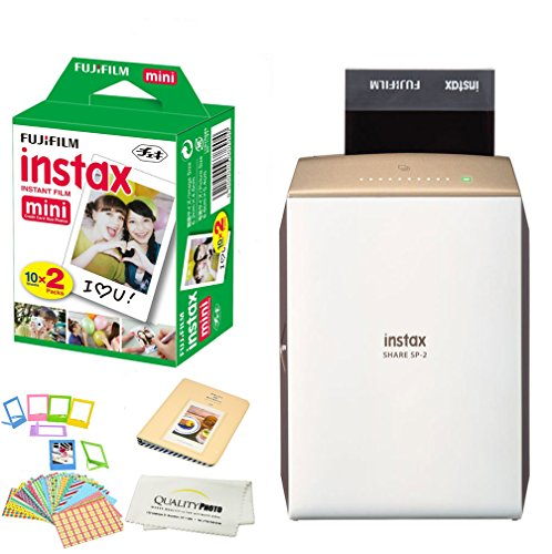 Fujifilm Instax SHARE SP-2 Portable Smart Phone Photo Printer w/ Instax Photo Paper Film Pack + Accessory Kit Bundle - Instantly Print Pictures from iPhone or any smartphone & Tablet in 10 Seconds by Quality photo