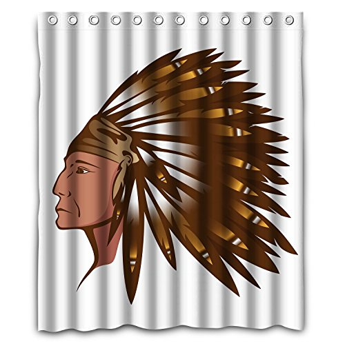 NLBH Designs Red Indian chief wearing traditional feather headdress Window Curtains/drape/panels/treatment Polyester Fabric (Indian Chief Headdress For Sale)