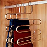 Ecolife Sturdy S-type Multi-Purpose  Stainless Steel Magic Pants Hangers Closet Hangers Space Saver Storage Rack for Hanging Jeans Scarf Tie, Family Economical Storage !(1 piecs)