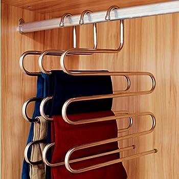 Elegant Ecolife Sturdy S Type Multi Purpose Stainless Steel Magic Pants Hangers  Closet Hangers Space