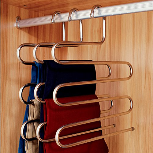 Ecolife Sturdy S Type Multi Purpose Stainless Steel Magic Pants Hangers Closet Space Saver Storage Rack For Hanging Jeans Scarf Tie