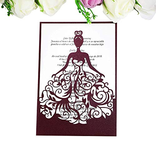 PONATIA 25PCS Lacer Cut Wedding Invitations Card Hollow Bride Invitations Cards for Wedding Bridal Invitation Engagement Invitations Cards (Burgundy)
