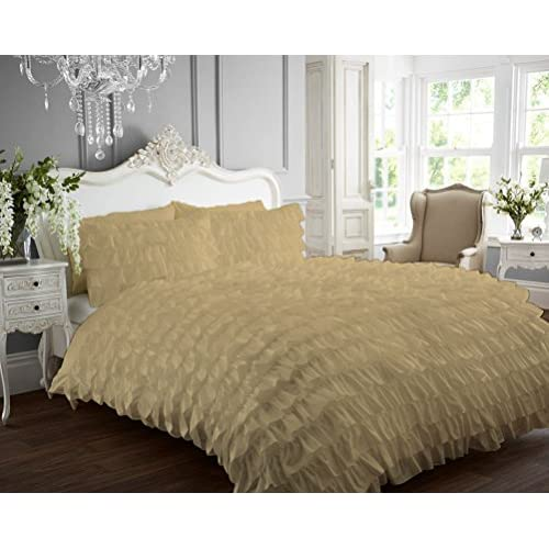 Cheap Kotton Culture 1000 Thread Count Luxurious 100% Egyptian Cotton Ruffle Duvet Cover (Ruffle Duvet Cover with Zipper Closure) Solid By (Beige, Queen) supplier