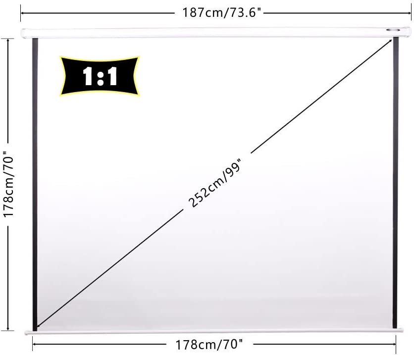 4:3,16:9 y Otros tambi/én utilizable como Pantalla Full HD y 3D Tama/ño:178 x 178 cm garant/ía de 2 a/ños CCLIFE Pantalla para proyector Formato 1:1 opci/ón de tama/ño 203x203cm 178x178cm 152x152cm
