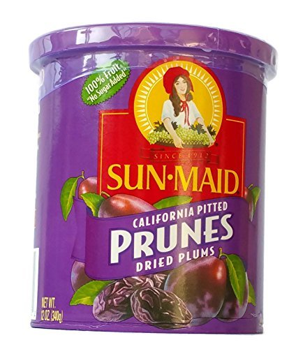 Sun Maid California Pitted Prunes Dried Plums, 12-ounce Canisters (Pack of 2) by