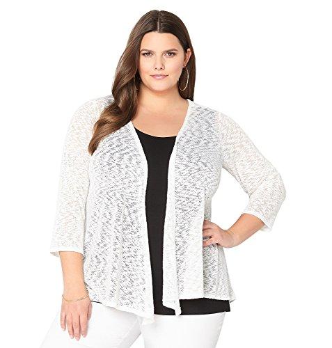 Avenue Women's Lace-Up Back Hatchi Cardigan, 14/16 White