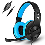 Gaming Headset, Kearui 3.5mm Wired Stereo Sound Over Ear [ One Key Mute ] Headphones with Noise Isolation Mic for Laptop/Tablet/Mobile Phones/PS4/Xbox one (Black & Blue)
