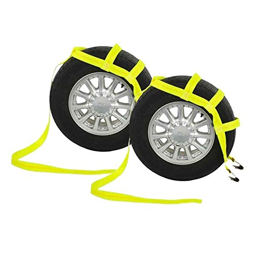 US Cargo Control Yellow Vehicle Tow Dolly Basket Tie Down Straps with Flat Hooks | 2 Pack
