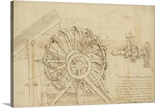 "Leonardo da Vinci Premium Thick-Wrap Canvas Wall Art Print entitled Great sling, wheel and crossbows devices from Atlantic Codex 48""x32"""