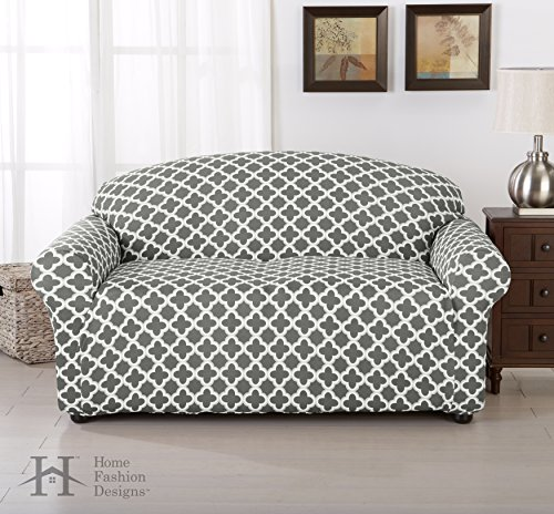 Brenna Collection Basic Strapless Slipcover. Form Fit, Slip Resistant, Stylish Furniture Shield / Protector Featuring Lightweight Twill Fabric. By Home Fashion Designs Brand. (Loveseat, Charcoal) (Loveseat Couch Covers)